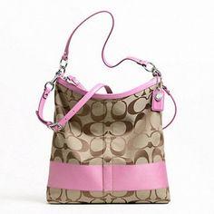 COACH SIGNATURE STRIPE LARGE CONVERTIBLE SHOULDER BAG. Starting at $20 on Tophatter.com!