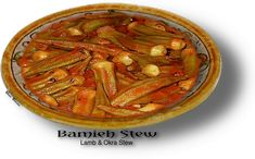 PERSIAN MEAT AND OKRA STEW - KORESH BAMIEH    A delicious stew that combines Lamb and/or beef with okra, garlic and tomatoes to make one of the Middle East's most favorite comfort food.