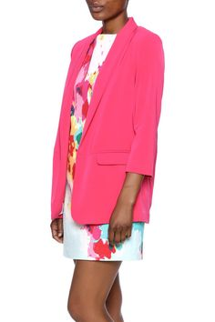 Bright fuchsia blazer with an open front, 3/4 sleeves, and two front pockets.Features a beautiful floral lining for an added surprise.   Fuchsia Blazer by FRNCH. Clothing - Jackets, Coats & Blazers - Jackets - Blazers New York City
