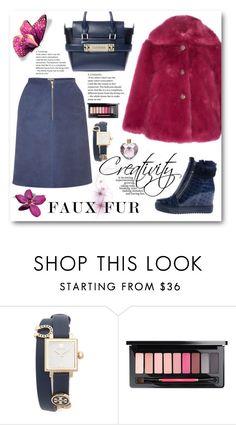 """Faux fur coat"" by sundango ❤ liked on Polyvore featuring Tory Burch, MAC Cosmetics, Vera Wang and fauxfurcoats"