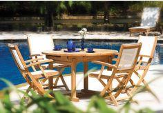 Three Birds Riviera Teak Patio Dining Set - Seats up to 6
