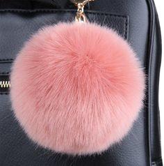 Tortor 1Bacha Faux Fur Pompon 2 Piece Pom Pom Fuzzy Ball with Keychain Dark Pink