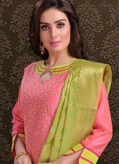 We unfurl our the intricacy and exclusivity of our creations highlighted in this pink chanderi churidar designer suit. The lovely embroidered work in the course of the dress is awe inspiring. Comes wi. Chudidhar Designs, Chudidhar Neck Designs, Neck Designs For Suits, Dress Neck Designs, Sleeve Designs, Blouse Designs, Salwar Suit Neck Designs, Kurta Neck Design, Salwar Designs