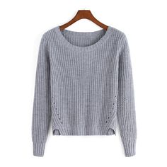 SheIn(sheinside) Grey Round Neck Crop Knit Casual Sweater ($20) ❤ liked on Polyvore featuring tops, sweaters, grey, grey pullover sweater, cropped knit sweater, pullover sweater, long sleeve sweaters and loose pullover sweater