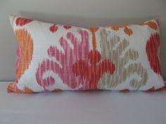 Braemore Pink Ikat Decorative Pillow Cover - Lumbar Pillow - Throw Pillow - Both Sides - Ikat Pillows, Lumbar Throw Pillow, Toss Pillows, Accent Pillows, Coral Bedroom, Decorative Pillow Covers, Soft Colors, Pattern Design, Taupe