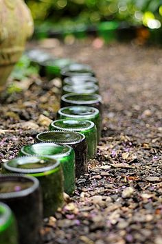Glass bottle garden edge