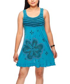 Look at this Blue Floral Ruffle Scoop Neck Dress on #zulily today!