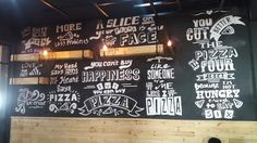 Mural wallpainting quotes pizza black and white bw