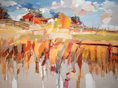 Josef Kote Original Acrylics on Canvas - Fence and Barn