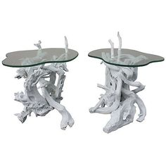 Pre-Owned Driftwood & Glass Top Side Tables S/2 ($999) ❤ liked on Polyvore featuring home, furniture, tables, accent tables, white lamp table, secondhand furniture, glass top side table, second hand furniture and driftwood side table