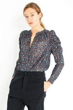 WILLA BLOUSE Ulla Johnson, Button Up, Navy, Blouse, Swimwear, Model, Cotton, How To Wear, Collection