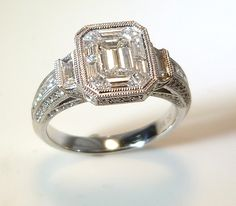 Emerald cut antique style engagement ring.  www.troyshoppejewellers.com