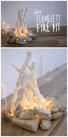 DIY Faux Campfire Tutorial from Free People.If you want the ambiance of a campfire indoors, try this DIY Faux Campfire from Free People.This DIY is made with lace covered branches, string lights and rocks. I would use LED lights.
