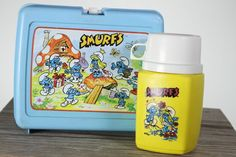 smurfs from the 80's | 80s Blue Smurfs Lunch Box and Thermos Plastic Cartoon
