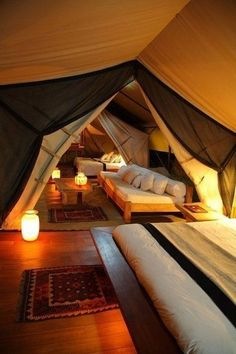 Dream house (attic converted to year-round indoor camping) Pretty Cool Indoor Tents, Indoor Camping, Camping Room, Camping Indoors, Camping Set, Camping Kitchen, Indoor Tent For Kids, Tent Camping Beds, Glamping Tents