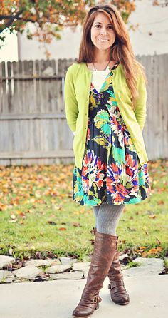 Turn summer to fall/winter w/ boots, tights, tee & a cardi