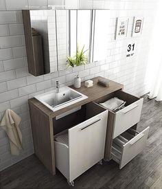 Armário para lavanderia modular com lavatório LAUNDRY 10 by LEGNOBAGNO