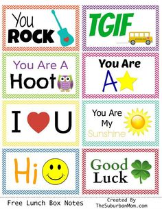 Free Printable Lunch Box Notes | Back To School, First Day of School Fun!