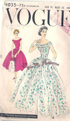 Vogue 9035 Vintage 1950s Off Shoulder Evening by DejaVuPatterns
