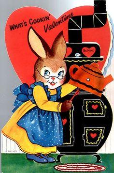 Vintage Valentines  Bunny