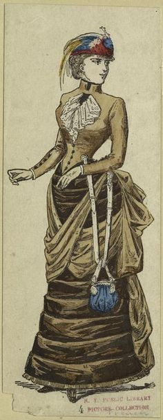 Woman in brown dress, France, Victorian fashion 2nd bustle period 1880s. Interesting way to attach a handbag/ purse !