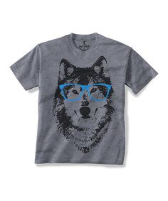 This Gray Spectacle Wolf Tee - Toddler & Kids by Skip N' Whistle is perfect! #zulilyfinds (Eric)