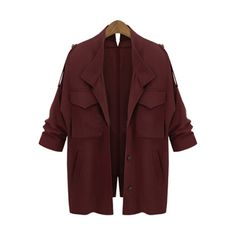 SheIn(sheinside) Wine Red Long Sleeve Pockets Loose Coat ($30) ❤ liked on Polyvore featuring outerwear, coats, jackets, tops, red, long coat, red double breasted coat, long sleeve coat, red coat and double-breasted coat