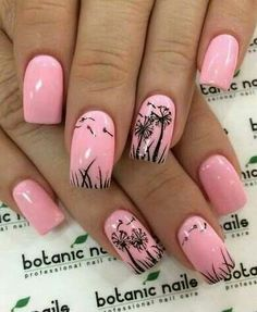 Glamorous nail art with dandelions outlined on the baby pink nails. nail designs for fall elegant nail designs for short nails nail stickers walmart nail art stickers walmart best nail polish strips 2019 Nail Art Designs 2016, Short Nail Designs, Nail Designs Spring, Unique Nail Designs, Fancy Nails, Cute Nails, Pretty Nails, My Nails, Dandelion Nail Art