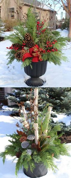 How to create colorful winter outdoor planters and beautiful Christmas planters with plant cuttings and decorative elements that last for a long time! - A Piece of Rainbow How to create colorful winter planters as beautiful Christmas outdoor decorat Christmas Urns, Indoor Christmas Decorations, Rustic Christmas, Winter Christmas, Christmas Home, Christmas Crafts, Outdoor Decorations, Thanksgiving Holiday, Winter Decorations