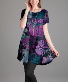 This Purple & Teal Abstract Scoop Neck Tunic - Plus is perfect! #zulilyfinds