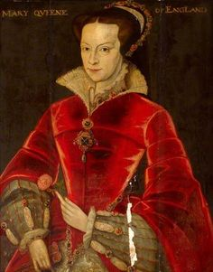 Summary Oil painting on panel, Queen Mary I (Mary Tudor) (1516–1558, after Antonis Mor (Utrecht 1519 – Antwerp 1575). A half-length portrait turned three-quarters to the left, wearing a red bodice and with both hands on display.