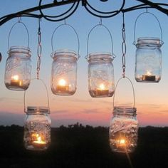 DIY Wedding Mason Jars Lanterns Hangers 6 DIY Outdoor Party Hanging Candle Kits, Luminaries by TreasureAgain, Handmade Hangers Only good idea for backyard parties Pot Mason Diy, Mason Jar Lanterns, Mason Jar Lighting, Mason Jar Crafts, Mason Jar Lamp, Jar Candles, Candle Lanterns, Diy Lantern, Citronella Candles