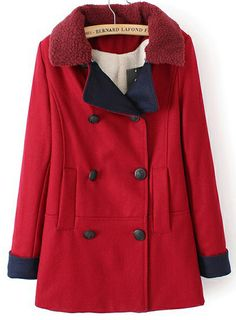 Red Lapel Long Sleeve Double Breasted Woolen Coat EUR€46.80