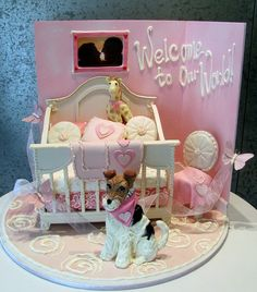 Girls crib & dog cake art