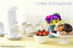 coffee and doughnuts bar with free printable tags