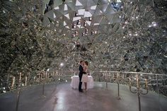 Wedding location of a different kind surrounded by 595 mirrors at Swarovski Kristallwelten in Wattens, Tyrol.