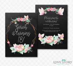 DIY Printable ~ Floral Invitation ~ 18th Birthday Party ~ Butterfly Invitation ~ Pretty Invitation ~ Chalkboard Invite - Print your own