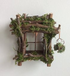 Fairy Window with Delicate Twinkling Light ~ Handcrafted by Olive Fairy Accessories, Fairy House, Fairy Door fairy garden houses - House & Garden Fairy Garden Furniture, Fairy Garden Houses, Diy Fairy House, Diy Fairy Door, Fairy Garden Doors, Garden Gates, Garden Crafts, Garden Art, Garden Ideas