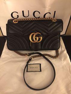 f070183ef8fc93 GUCCI Authentic New Black Leather GG Marmont matelassé Shoulder Bag  #fashion #clothing #shoes