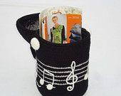 Crochet basket Music, gift basket, decorative basket, storage basket, yarn bowl, music lovers gift, toy basket, basket for crafts, gift idea