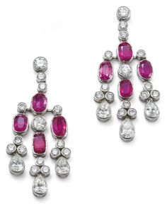 PHILLIPS : UK060111, , A pair of ruby and diamond ear pendants