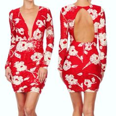 Floral print red bodycon dress with sexy deep V-neck and open back.