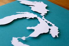 Great Lakes Silhouette on Aqua  8 x 10 original by Crafterall, $20.00