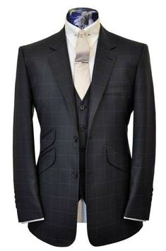 The Teller Charcoal with Chalk Windowpane - William Hunt Savile Row - 1 Modern Gentleman, Gentleman Style, Sharp Dressed Man, Well Dressed Men, Mens Fashion Suits, Mens Suits, Men's Fashion, Elegant Man, Bespoke Tailoring