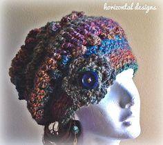 Crochet Beanie, Slouchy Beanie, Crochet Hat, Boho Hat, Boho Clothing, Painted Sunrise Design, Made to Order