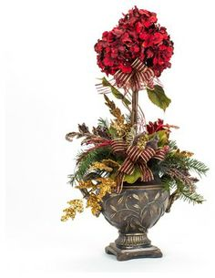 One-of-a-kind Burgundy Hydrangea Topiary - traditional - holiday decorations - FineStems