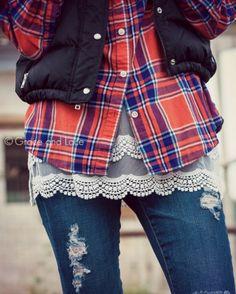 Plaid & lace.