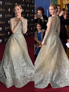 In Elie Saab haute couture at the Cinderella Los Angeles premiere. See all of Lily James' princessy red carpet looks.