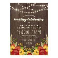 #wedding - #Sunflowers Roses String Lights Rustic Barn Wedding Card