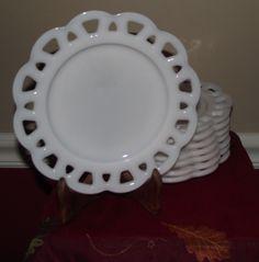 Lace-Lattice-Edge Sandwich Salad Plate Milk Glass
